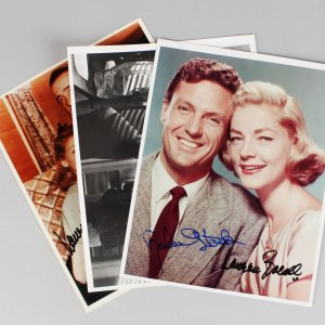 Actors Lot - Dana Andrews, Robert Stack & (2) Lauren Bacall Signed 8x10 Photos - JSA