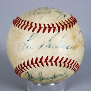 1948 Cleveland Indians Team-Signed Baseball Incl. Hank Greenberg, Lou Boudreau, Bob Lemon etc.