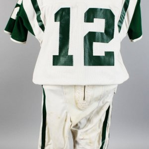 Joe Namath New York Jets Early 70's Game-Worn, Signed Road Jersey & Uniform Pants of Other Player (Sand-Knit) (JSA)