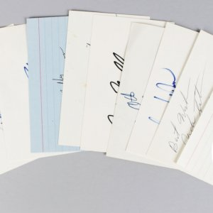Oakland Raiders Signed 3x5 Index Cards Lot (8) - George Blanda, Jim Otto, Gene Upshaw, Jack Tatum etc. (JSA)