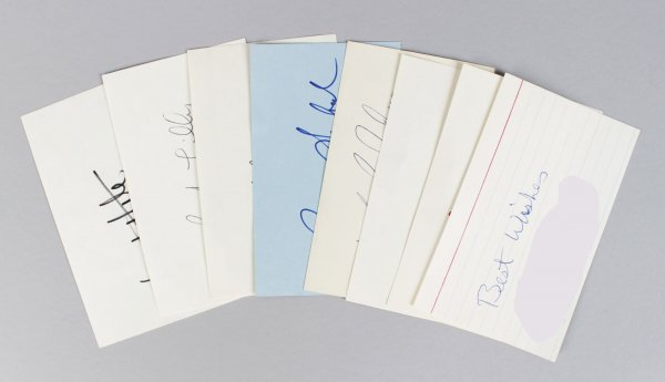 Dallas Cowboys Signed 3x5 Index Cards Lot (7) - Roger Staubach, Danny White, Tony Dorsett etc. (JSA)
