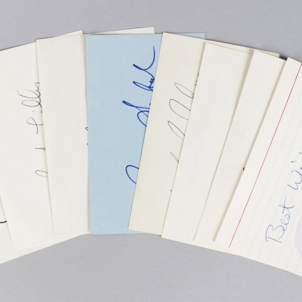 Dallas Cowboys Signed 3x5 Index Cards Lot (7) - Roger Staubach, Danny White, Tony Dorsett etc. (JSA)