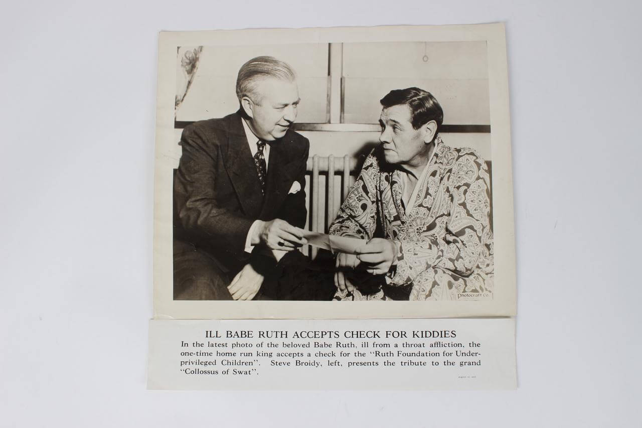 August 17, 1948 NY Yankees - Babe Ruth 11x14 Photo Poster of Ruth Foundation Accepting Check For Kiddies