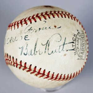 New York Yankees - Babe Ruth Single-Signed Harwood Baseball (PSA/DNA Full LOA)