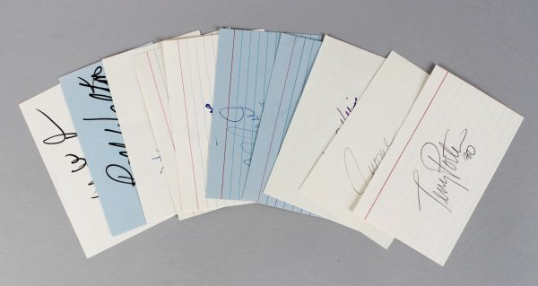 Portland Trailblazers Signed 3x5 Index Card Lot (10) - Walton, Drexler etc. (JSA)