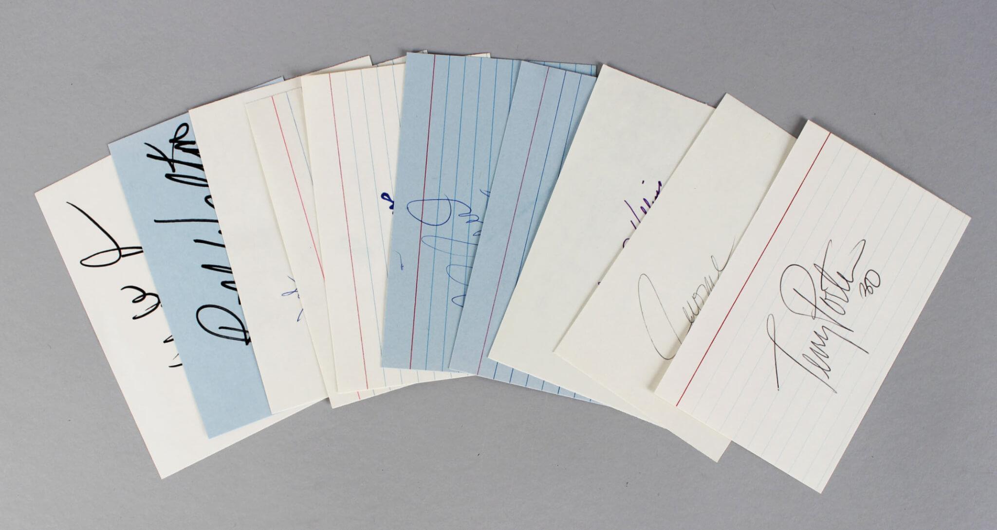 Portland Trailblazers Signed 3x5 Index Card Lot (10) - Bill Walton, Clyde Drexler, Terry Porter etc. (JSA)