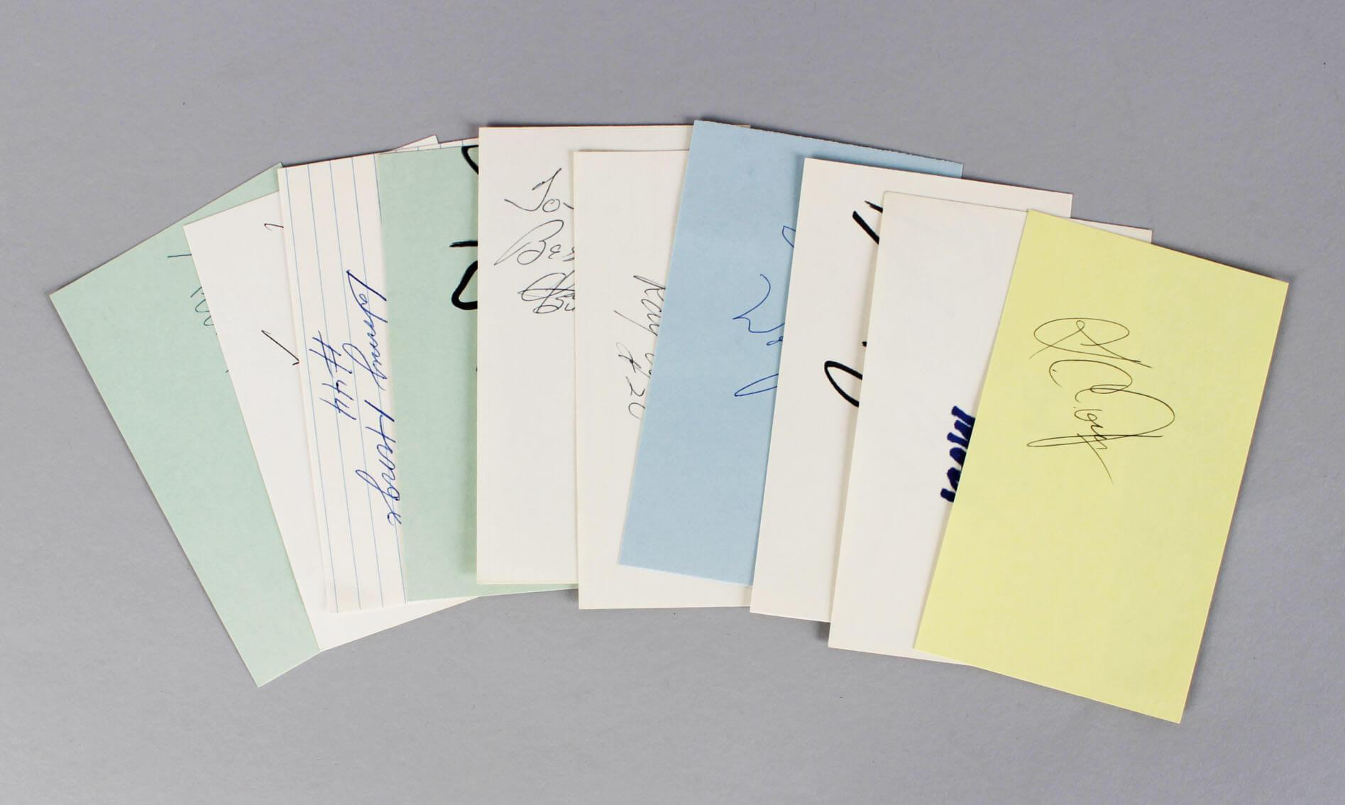Boston Celtics Signed 3x5 Index Card Lot (6) - Tom Heinsohn, K.C. Jones, Johnny Most etc. (JSA)
