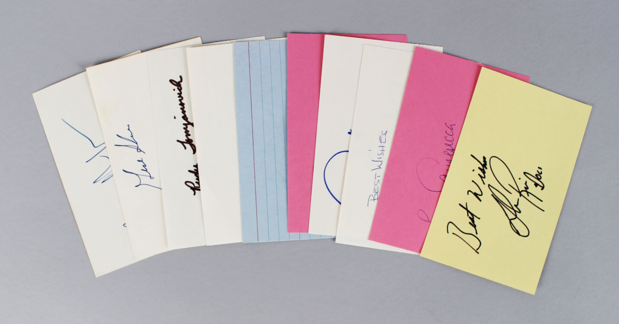 NBA Coach's Signed 3x5 Index Card Lot (10) - Pat Riley, Larry Brown, Don Chaney etc. (JSA)