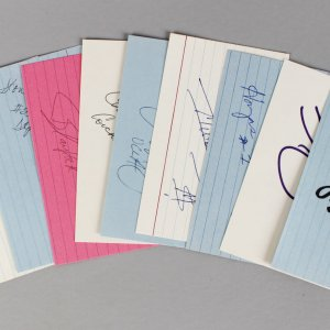 NCAA Basketball Players Signed 3x5 Index Card Lot (10) - Shaq O'Neal, Dikembe Mutombo, Zo etc. (JSA)
