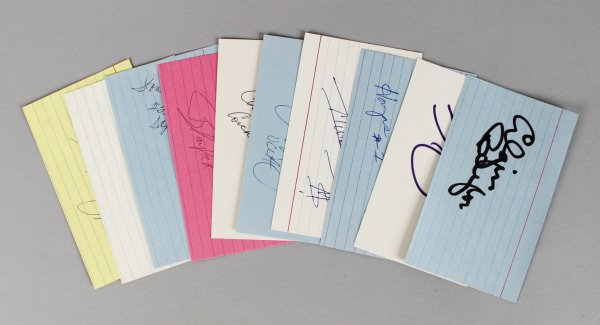 NCAA Basketball Players Signed 3x5 Index Card Lot (10) - Shaq O'Neil etc. (JSA)
