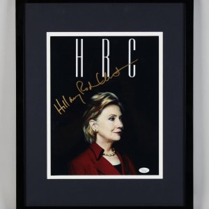 "Hillary Clinton Signed Black ""HRC"" 11x14 Photo Display - JSA Full LOA"
