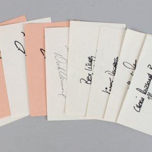 NFL Super Bowl Winners & HOF'er Coachs Signed 3×5 Index Card Lot (9) Ditka, Stram, Vermeil (JSA)