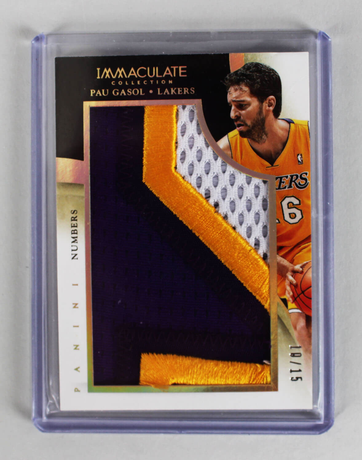 2013-14 Panini Immaculate - Los Angeles Lakers Pau Gasol Game-Used Worn Jersey Patch Card 10/15