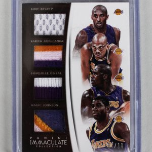 2014-15 Panini Immaculate Lakers Kobe Bryant, Shaq, Abdul-Jabbar & Magic Johnson Game-Used Jersey Patch 7/10 Card