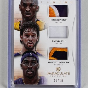 2012-13 Panini Immaculate - Lakers Trio Kobe Bryant, Pau Gasol & Dwight Howard Game-Used Jersey Patch Card