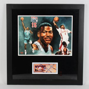 UNLV - Charlotte Hornets - Larry Johnson Signed 27x29 Photo Display (COA)