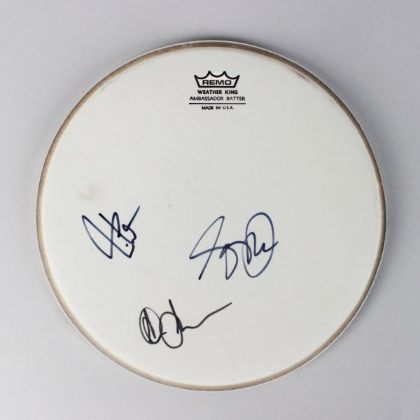 Rock Band - Rush Signed Remo Drumhead by Neil Pert, Alex Lifeson & Getty Lee- JSA Full LOA
