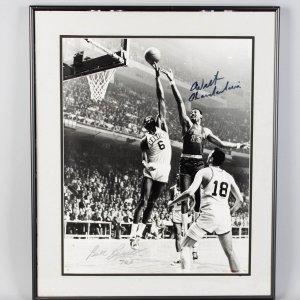 "Celtics Wilt Chamberlain and Bill Russell ""763"" Signed 16x20"
