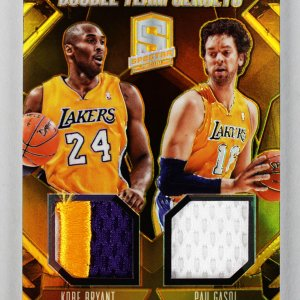 2014 Panini Spectra - Lakers - Kobe Bryant & Pau Gasol Duo Game-Used Patch Jersey Card 10/10