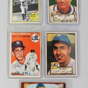 Vintage New York Yankees & Giants Baseball (5) Card Lot - '52 Topps Phil Rizzuto, '54 Billy Martin etc.