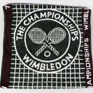 1997 Wimbeldon - Pete Sampras Game-Used Signed Towel (JSA COA)
