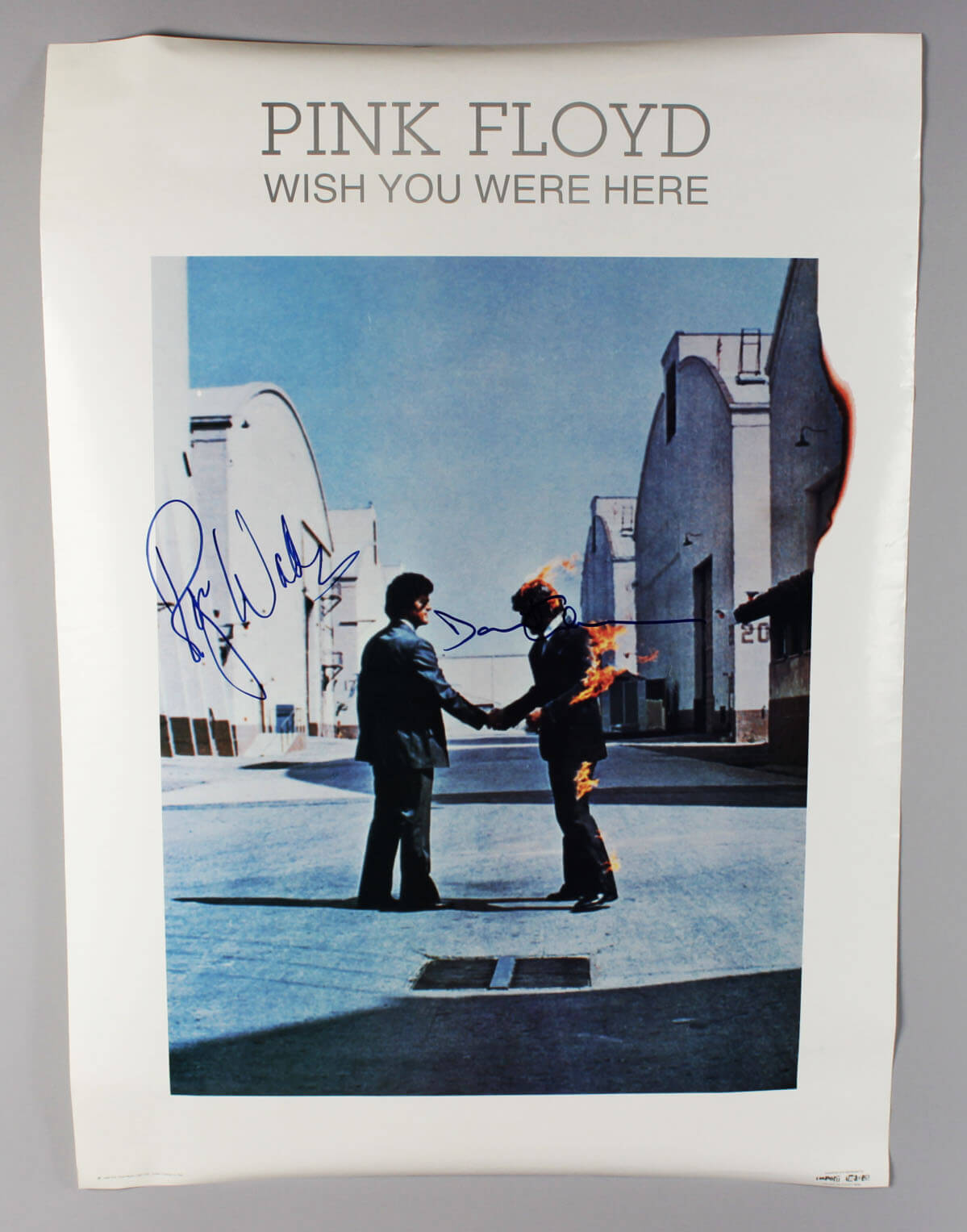 Pink Floyd Roger Waters & David Gilmour Signed Wish You Were Here Poster - JSA Full LOA