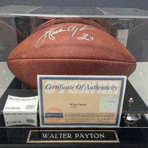 Chicago Bears Walter Payton Signed Football COA Steiner