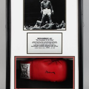 Muhammad Ali Signed Boxing Glove Shadow Box 266/100 - COA Staques of Plaques