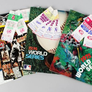 1973-76 World Series Programs w Ticket Stubs