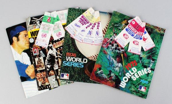 1973-76 World Series Programs w Ticket Stubs