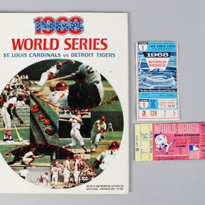 1968 Cardinals World Series Program w Ticket Stub