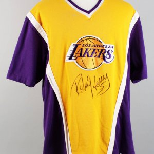 Robert Horry 96-97 Signed Game-Worn Shooting Shirt with Lakers Auction House Hologram