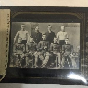 1905-1910 era Boston Team Ice Hockey Glass Lantern Slide by E.W.Goodrich