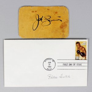 1939 Joe Louis & Eddie Futch Signed Golden Gloves Tournament Pass (Eddie Futch Collection)