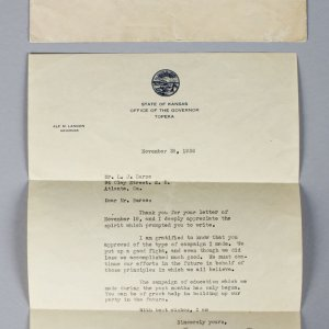 Alf Landon Governor- Signed Letter from Topeka, Nov 28, 1936