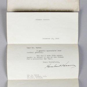 December 26, 1936 - President Herbert Hoover Signed Letter (TLS) - JSA