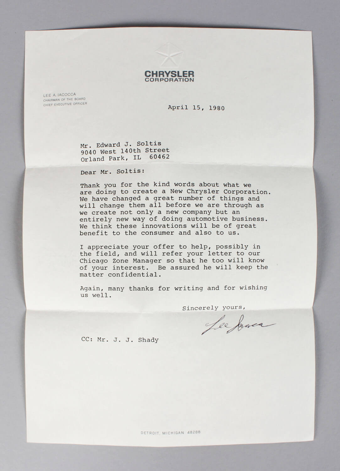 Signed Letter (TLS) From Lee Iacocca on Chrysler Stationary From Lee A Iacocca on Chrysler Stationary