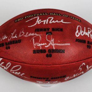 NFL HOF Class of 2010 Signed Football LE 35/150- (7) - Rice, Lebeau, Smith etc - PSA/DNA Full LOA