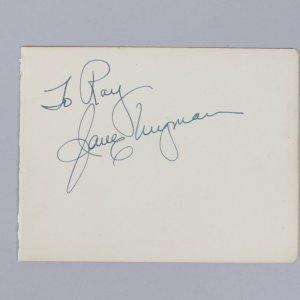 Jane Wyman & J. Arthur Rank Signed 4x6 Vintage Album Page Cut- COA JSA