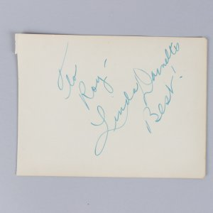 1948 Unfaithfully Yours - Linda Darnell Signed & Inscribed 5x6 Cut - COA JSA