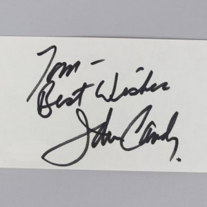 Uncle Buck - John Candy Signed & Inscribed 3x5 Index Card - COA JSA
