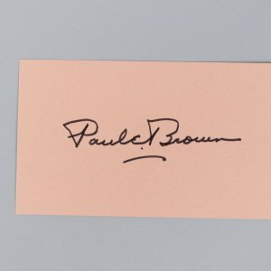 Cleveland Browns - HOF'er - Paul E. Brown Signed 3x5 Index Card - COA JSA