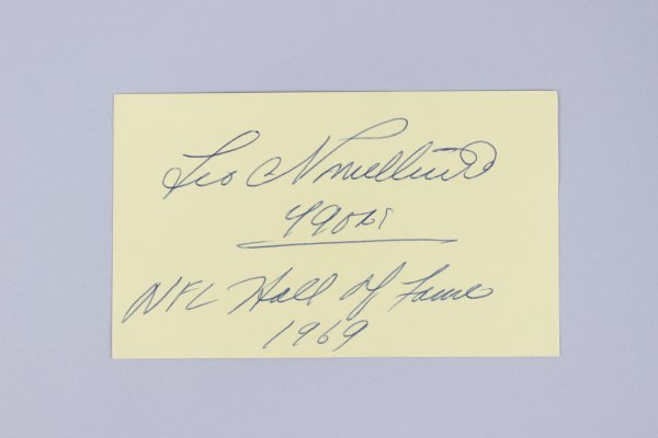 San Francisco 49ers - Leo Nomellini Signed & Inscribed 3x5 Index Card - COA JSA