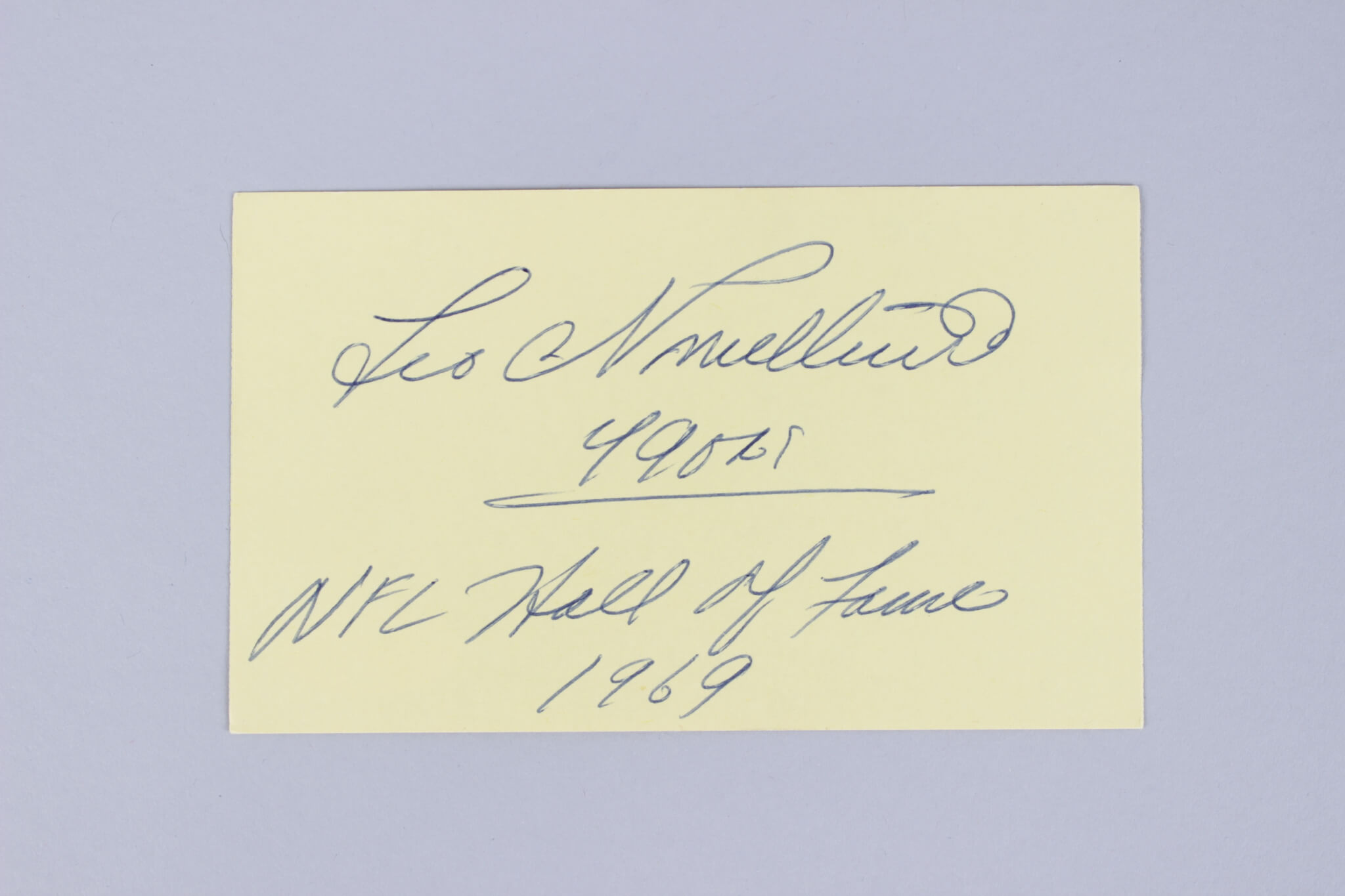 San Francisco 49ers – Leo Nomellini Signed & Inscribed 3×5 Index Card – COA JSA59907_01