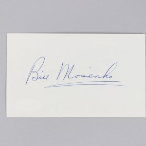 Chicago Black Hawks - Bill Mosienko Signed 3x5 Index Card - COA JSA
