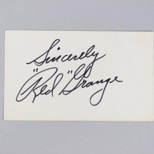 Chicago Bears -HOF'er- Red Grange Signed & Inscribed 3x5 Index Card - COA JSA