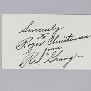 Chicago Bears -HOF'er- Red Grange Signed & Inscribed 3x5 Index Card - COA JSA