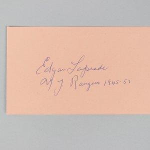 New York Rangers- Edgar Laprade Signed & Inscribed 3x5 Index Cards- COA JSA
