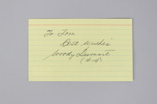 Boston Bruins - Woody Dumart Signed & Inscribed 3x5 Index Card- COA JSA