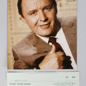Heat of the Night - Rod Steiger Signed Check & 8x10 Photo (Unsigned)- COA JSA